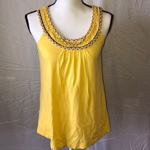 Yellow tank top with tiny beads